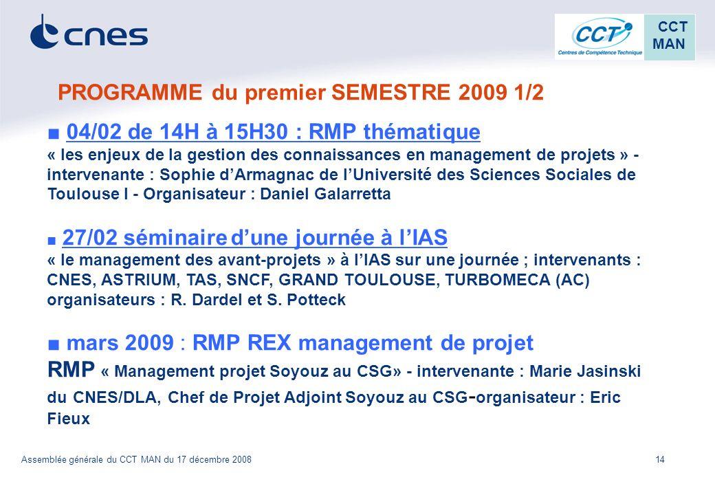 PROGRAMME du premier SEMESTRE 2009 1/2