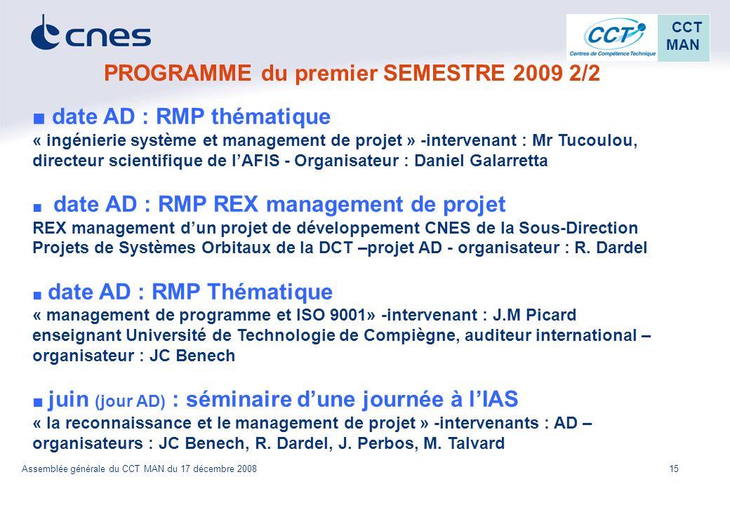 PROGRAMME du premier SEMESTRE 2009 2/2