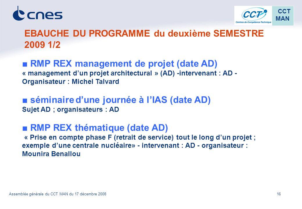 EBAUCHE DU PROGRAMME du deuxième SEMESTRE 2009 1/2
