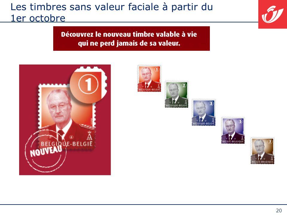 Les timbres sans valeur faciale à partir du 1er octobre