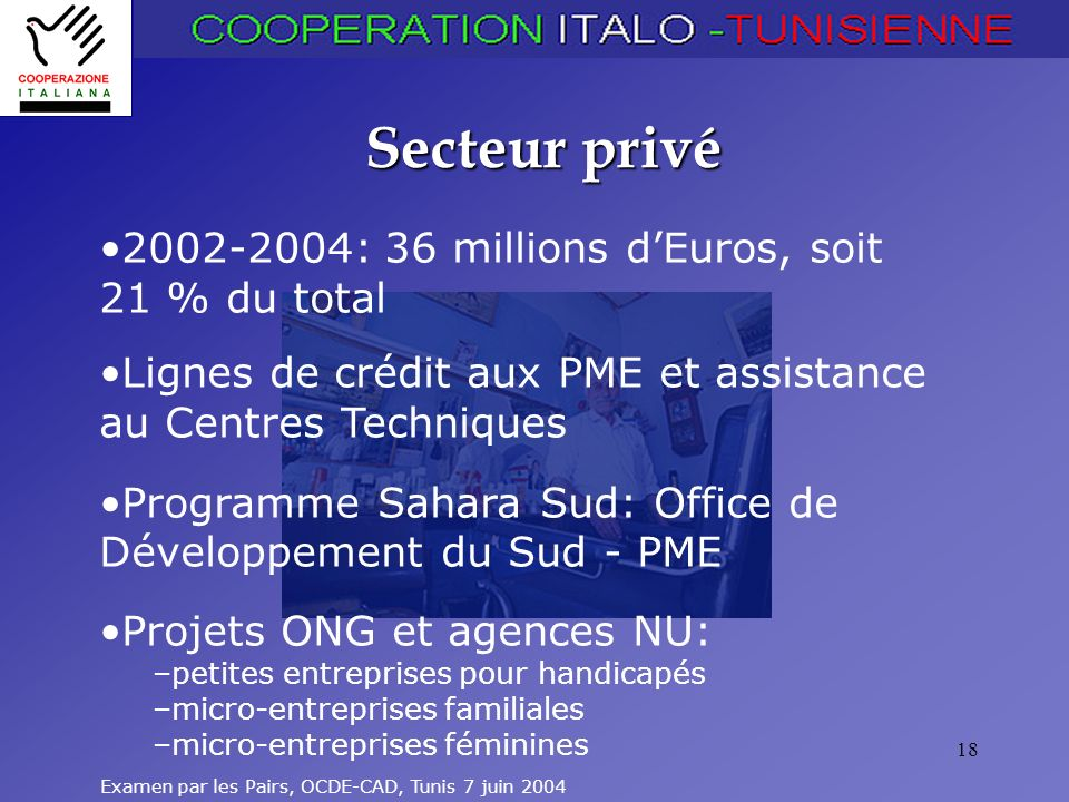 Secteur privé 2002-2004: 36 millions d'Euros, soit 21 % du total