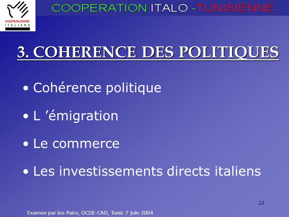 3. COHERENCE DES POLITIQUES