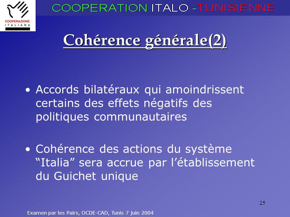 Cohérence générale(2) Accords bilatéraux qui amoindrissent certains des effets négatifs des politiques communautaires.