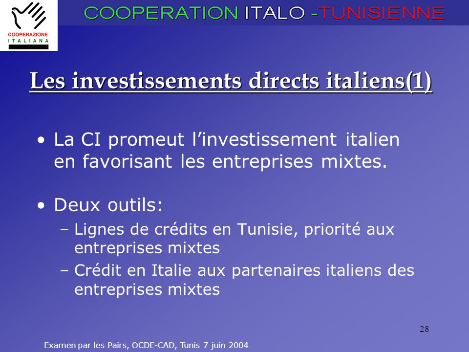 Les investissements directs italiens(1)