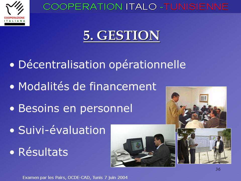 5. GESTION Décentralisation opérationnelle Modalités de financement
