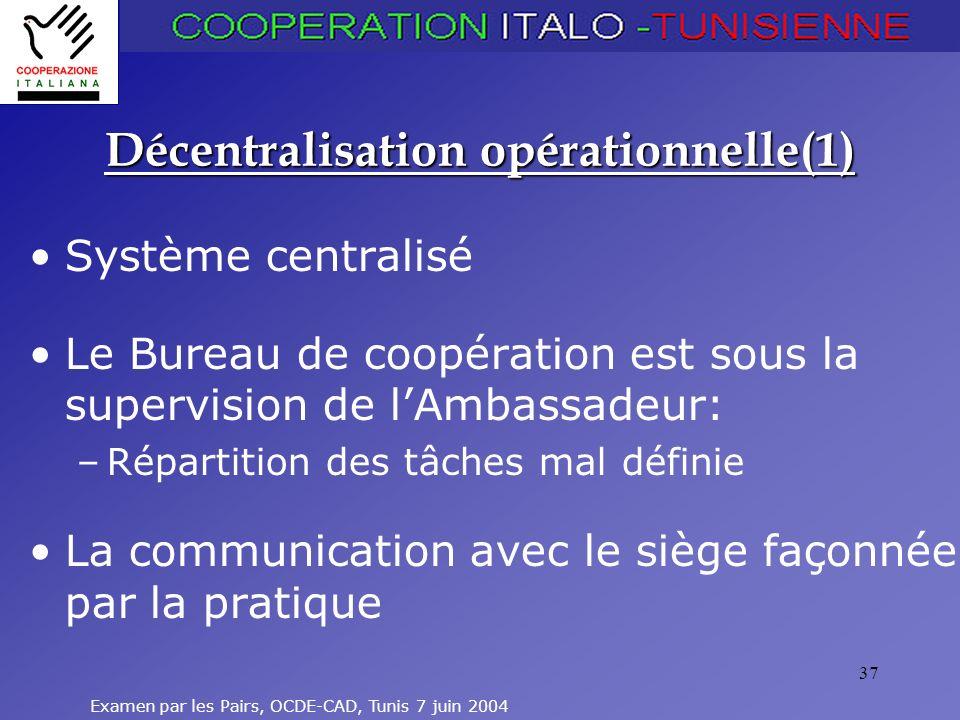 Décentralisation opérationnelle(1)