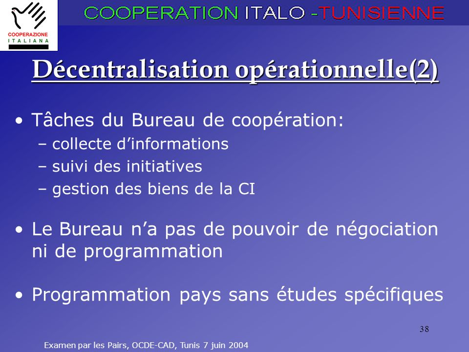 Décentralisation opérationnelle(2)
