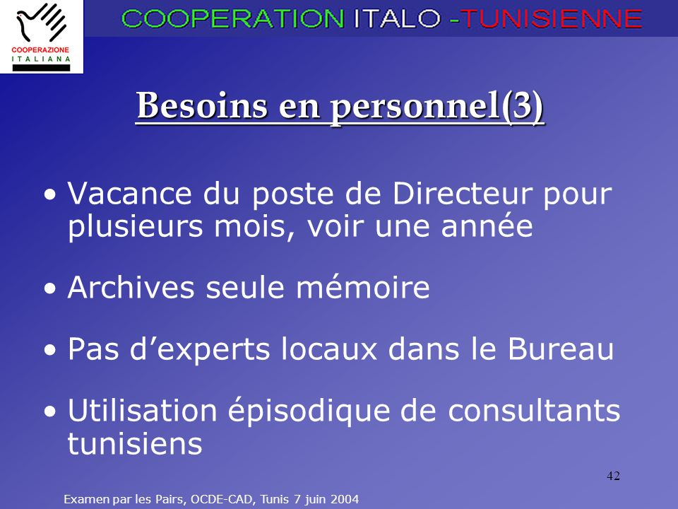 Besoins en personnel(3)