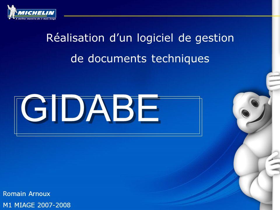 GIDABE Réalisation d'un logiciel de gestion de documents techniques