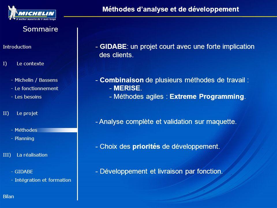 Méthodes d'analyse et de développement