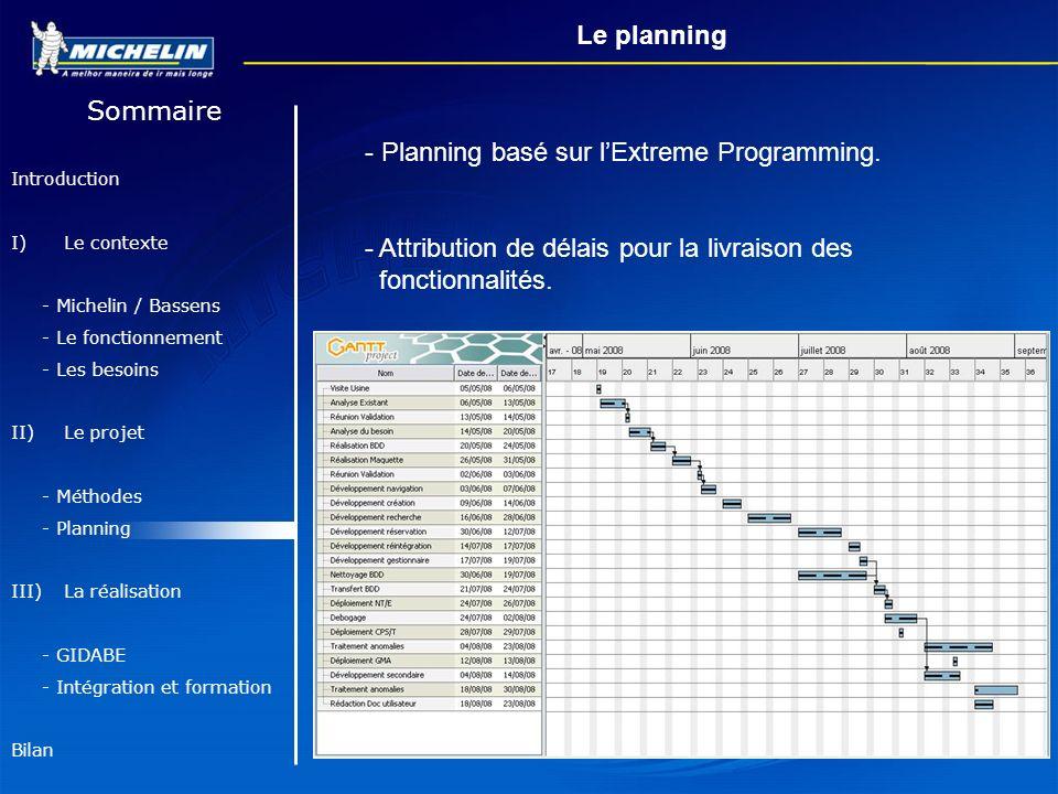 Planning basé sur l'Extreme Programming.
