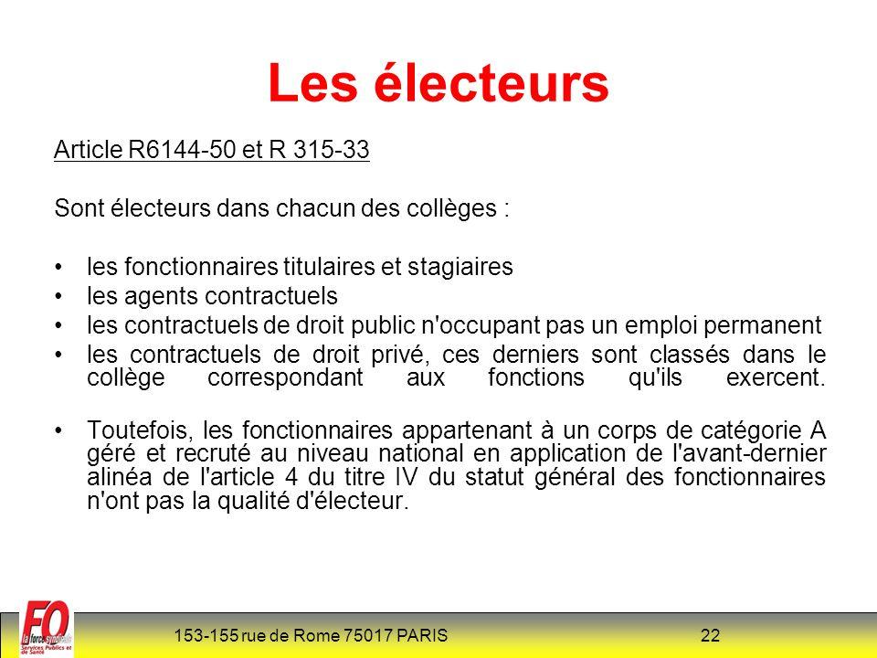 Les électeurs Article R6144-50 et R 315-33
