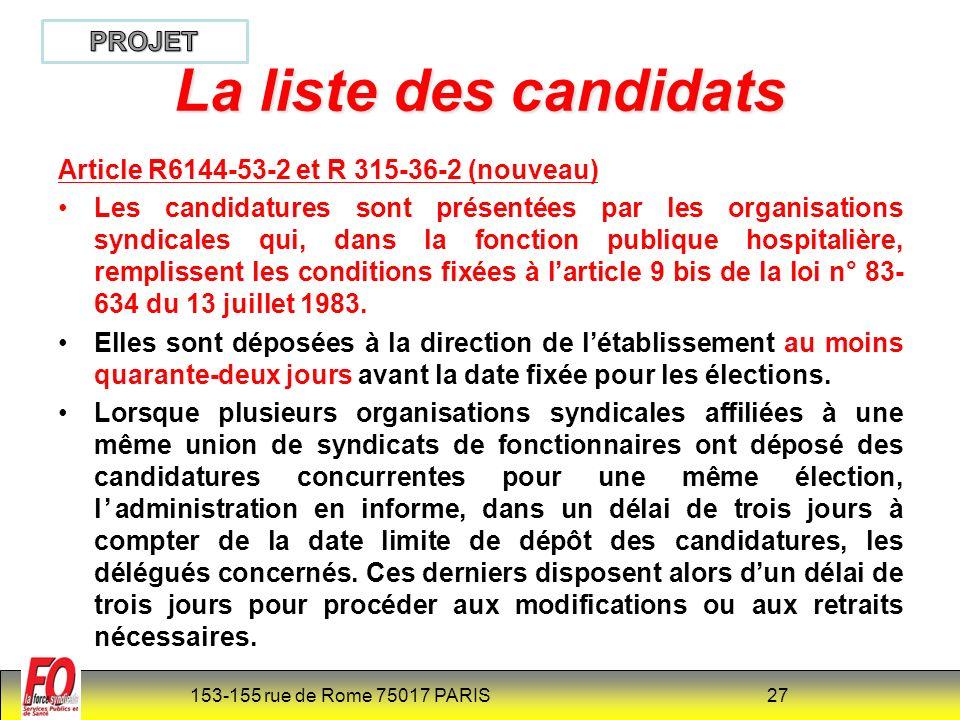 La liste des candidats PROJET