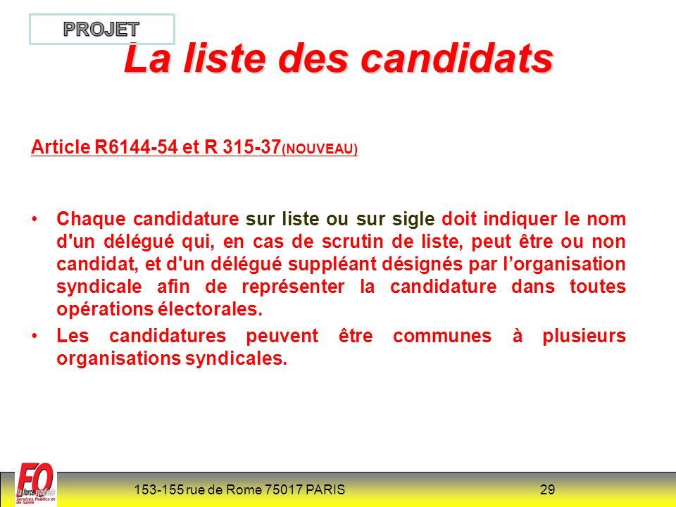 La liste des candidats PROJET Article R6144-54 et R 315-37(NOUVEAU)