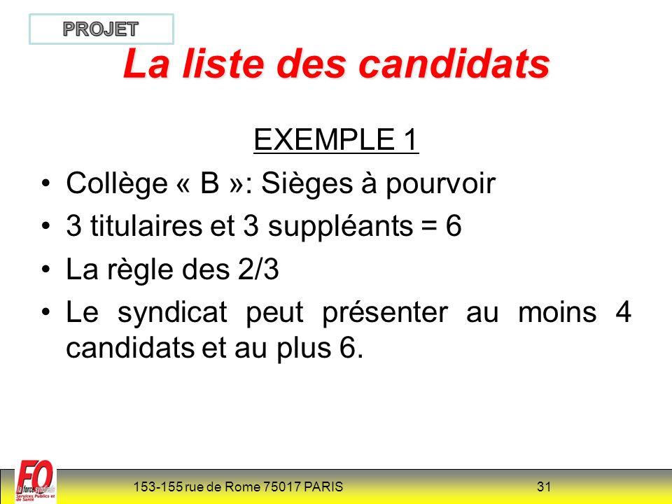 La liste des candidats EXEMPLE 1 Collège « B »: Sièges à pourvoir