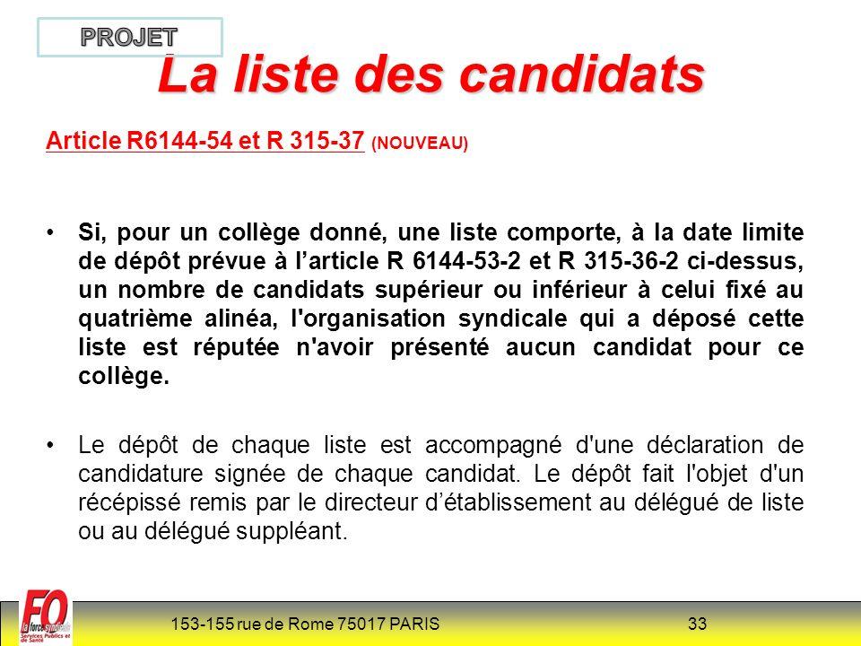 La liste des candidats PROJET Article R6144-54 et R 315-37 (NOUVEAU)