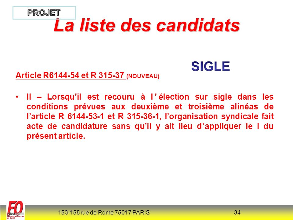 La liste des candidats SIGLE PROJET