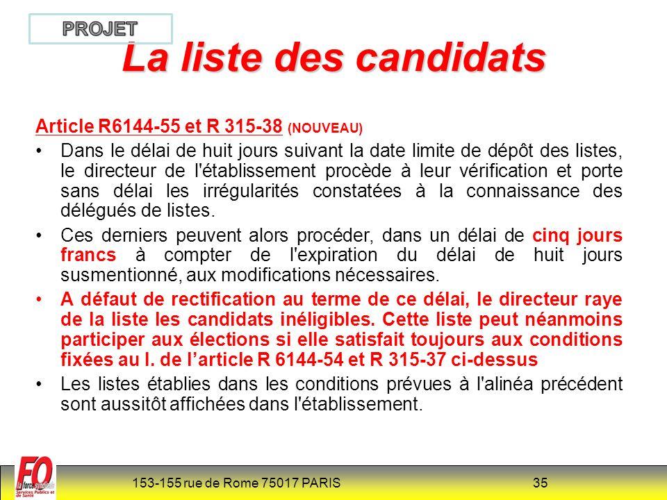La liste des candidats PROJET Article R6144-55 et R 315-38 (NOUVEAU)