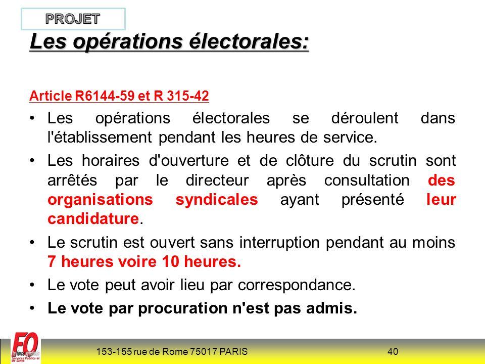 Les opérations électorales: