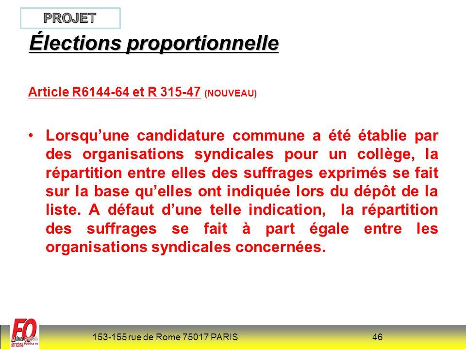 Élections proportionnelle
