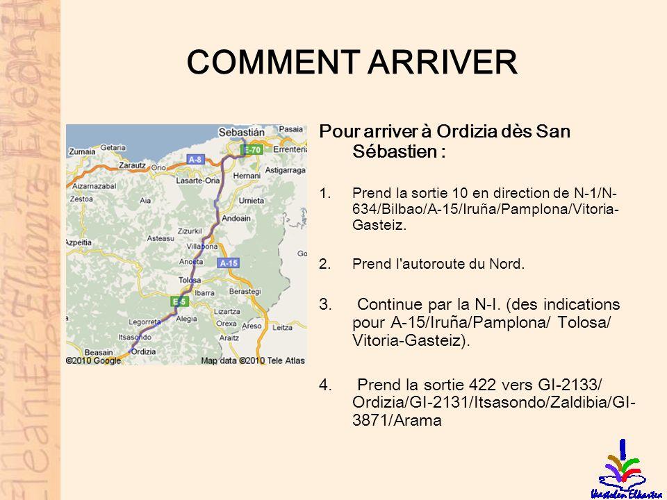 COMMENT ARRIVER Pour arriver à Ordizia dès San Sébastien :