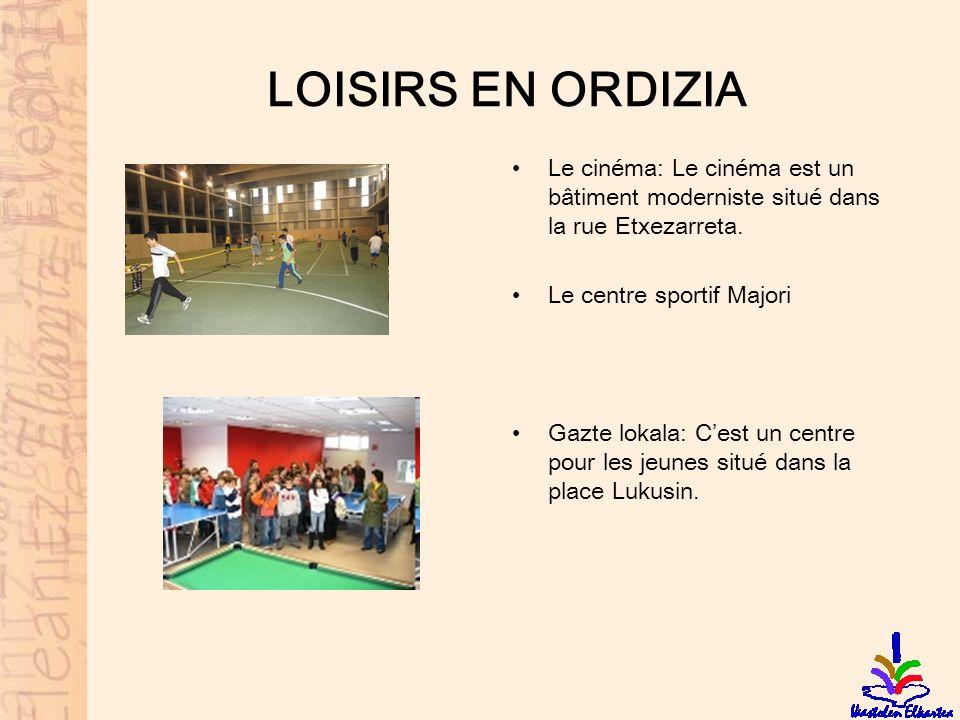 LOISIRS EN ORDIZIA Le cinéma: Le cinéma est un bâtiment moderniste situé dans la rue Etxezarreta. Le centre sportif Majori.