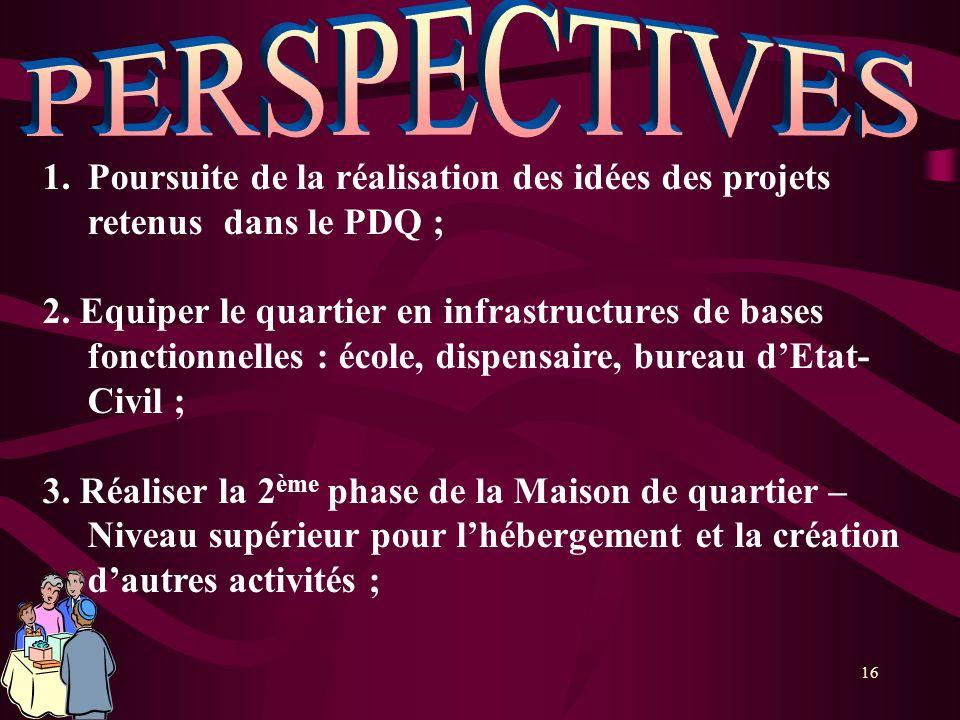 PERSPECTIVES Poursuite de la réalisation des idées des projets retenus dans le PDQ ;