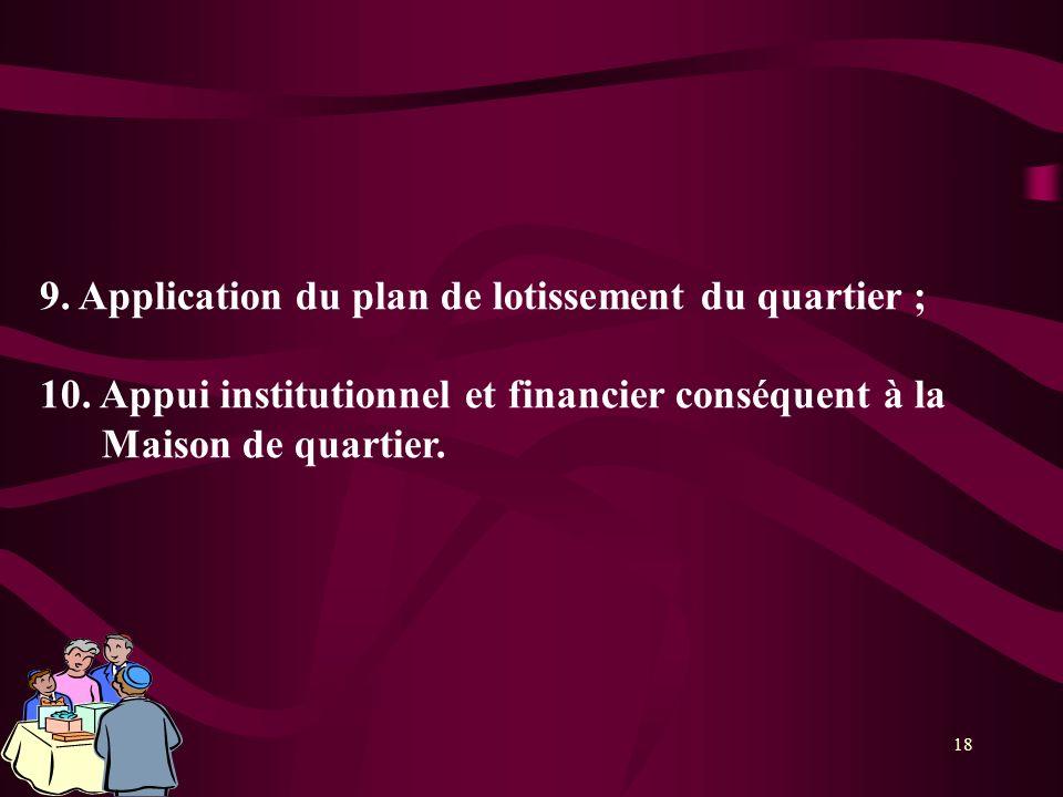 9. Application du plan de lotissement du quartier ;