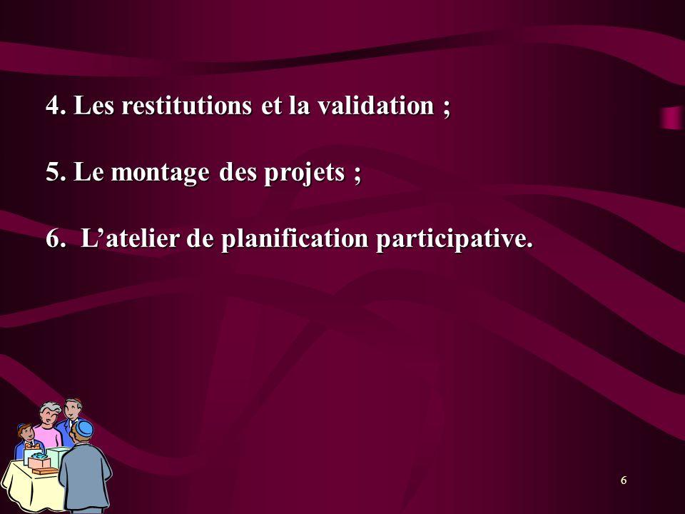 4. Les restitutions et la validation ;