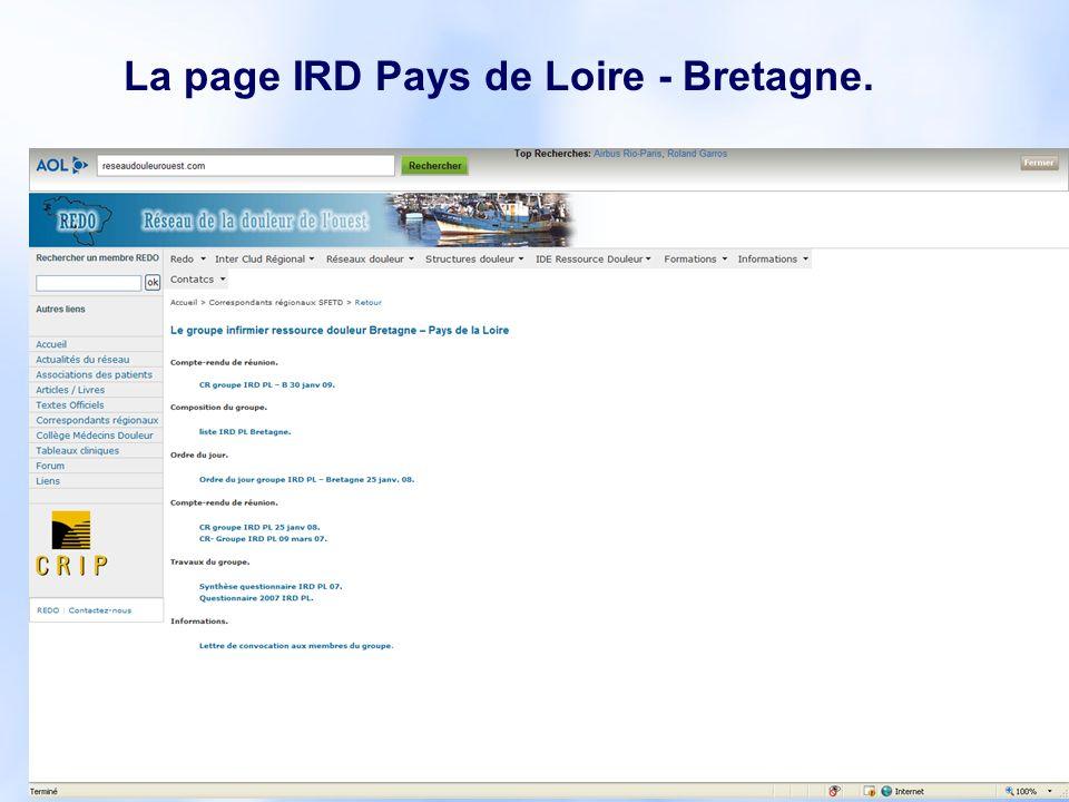 La page IRD Pays de Loire - Bretagne.