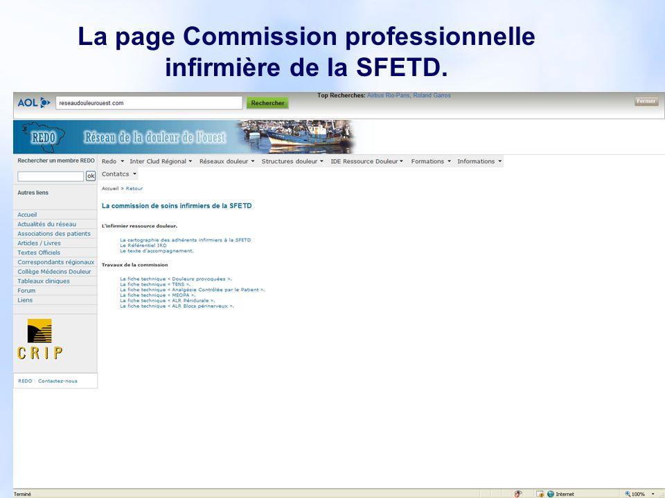 La page Commission professionnelle infirmière de la SFETD.