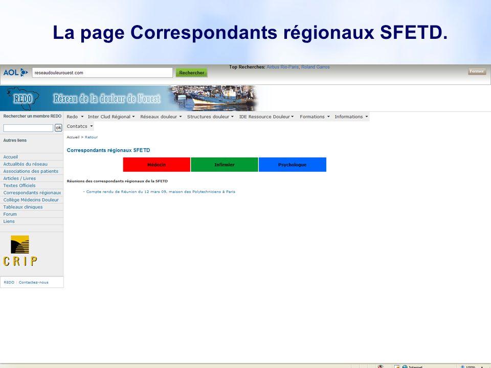 La page Correspondants régionaux SFETD.