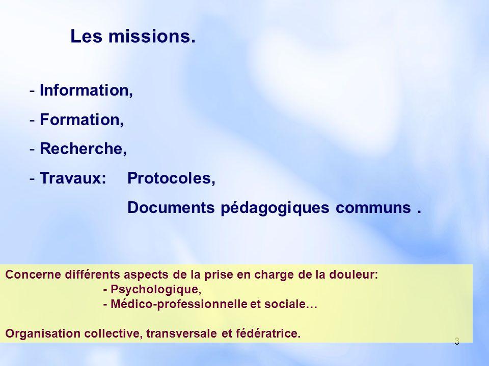 Les missions. Information, Formation, Recherche, Travaux: Protocoles,