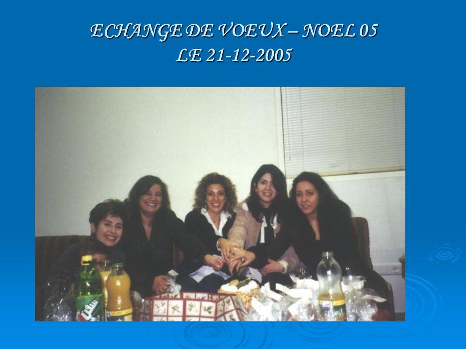 ECHANGE DE VOEUX – NOEL 05 LE 21-12-2005