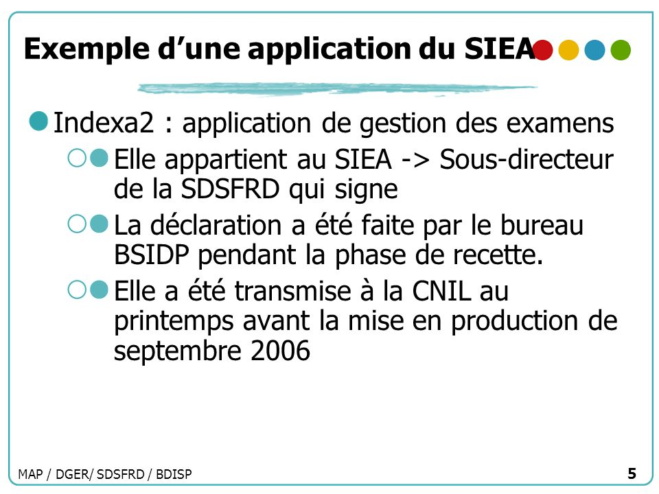 Exemple d'une application du SIEA