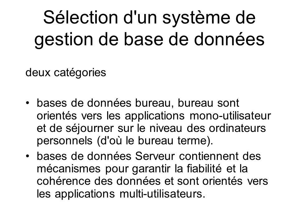 Sélection d un système de gestion de base de données