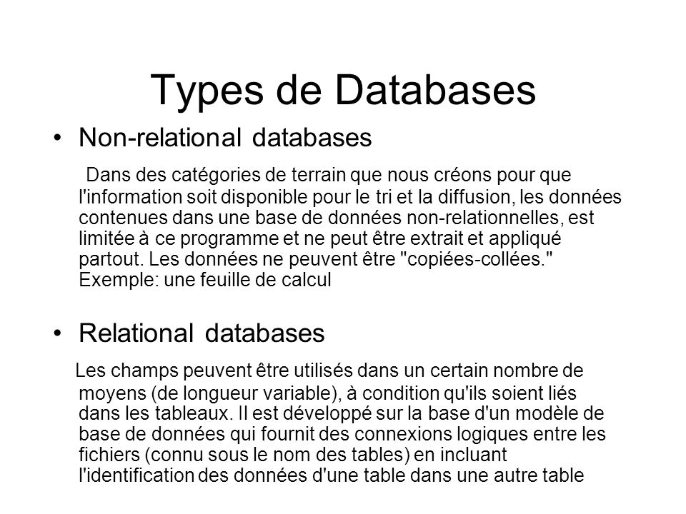 Types de Databases Non-relational databases