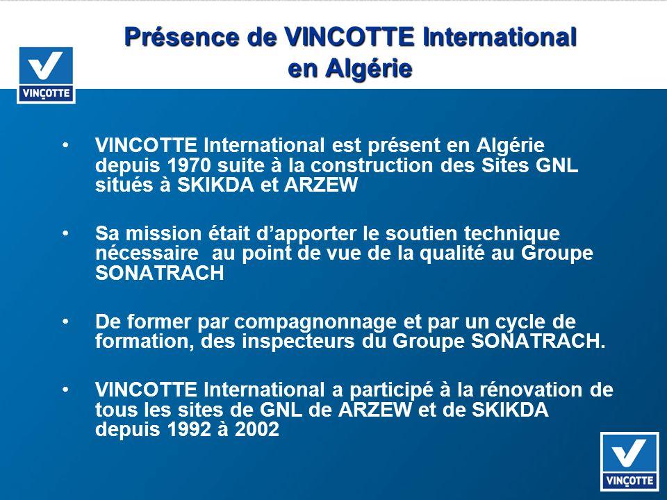 Présence de VINCOTTE International en Algérie