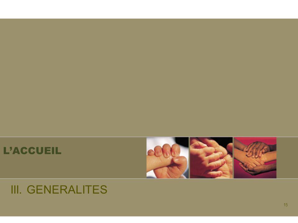 L'ACCUEIL III. GENERALITES