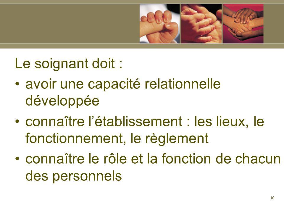 Le soignant doit : avoir une capacité relationnelle développée. connaître l'établissement : les lieux, le fonctionnement, le règlement.