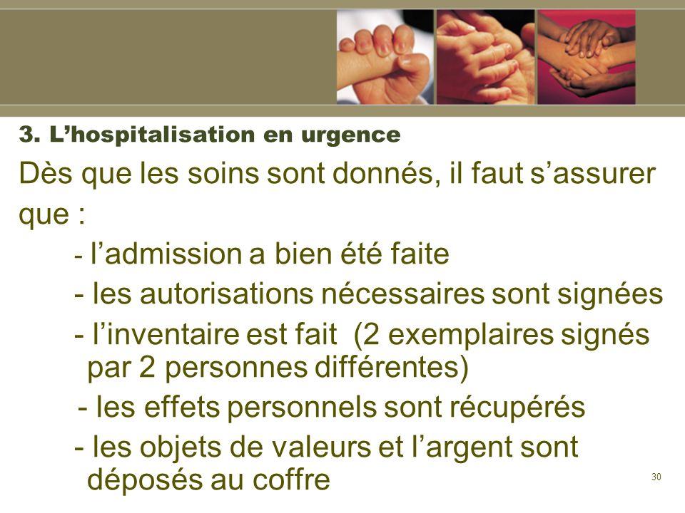 3. L'hospitalisation en urgence