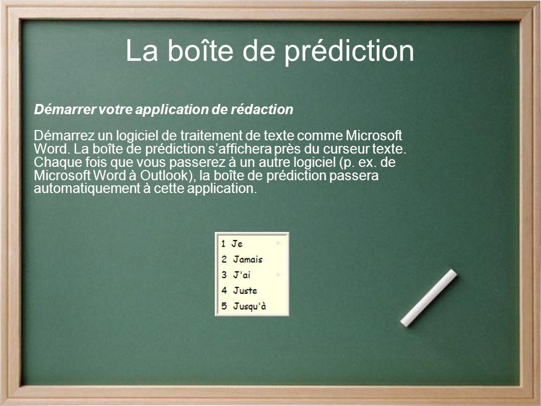 La boîte de prédiction Démarrer votre application de rédaction