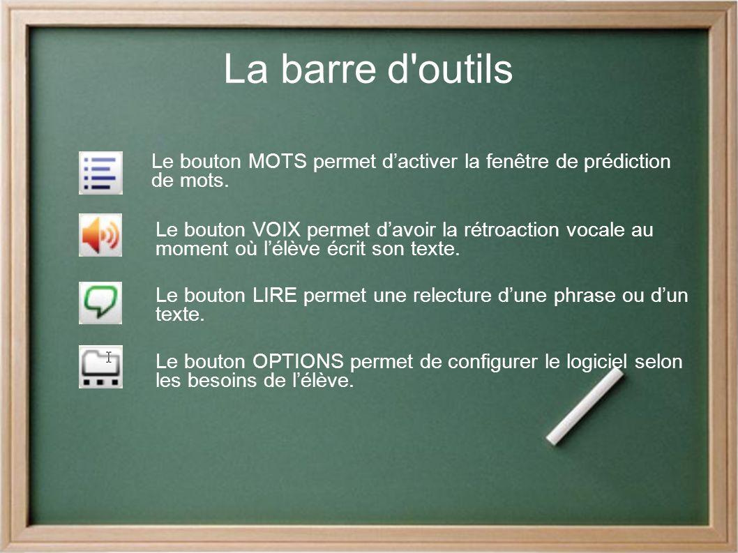 La barre d outils Le bouton MOTS permet d'activer la fenêtre de prédiction de mots.