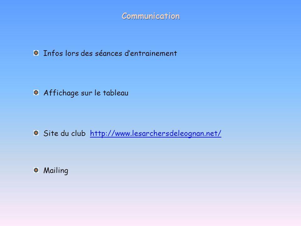 Communication Infos lors des séances d'entrainement