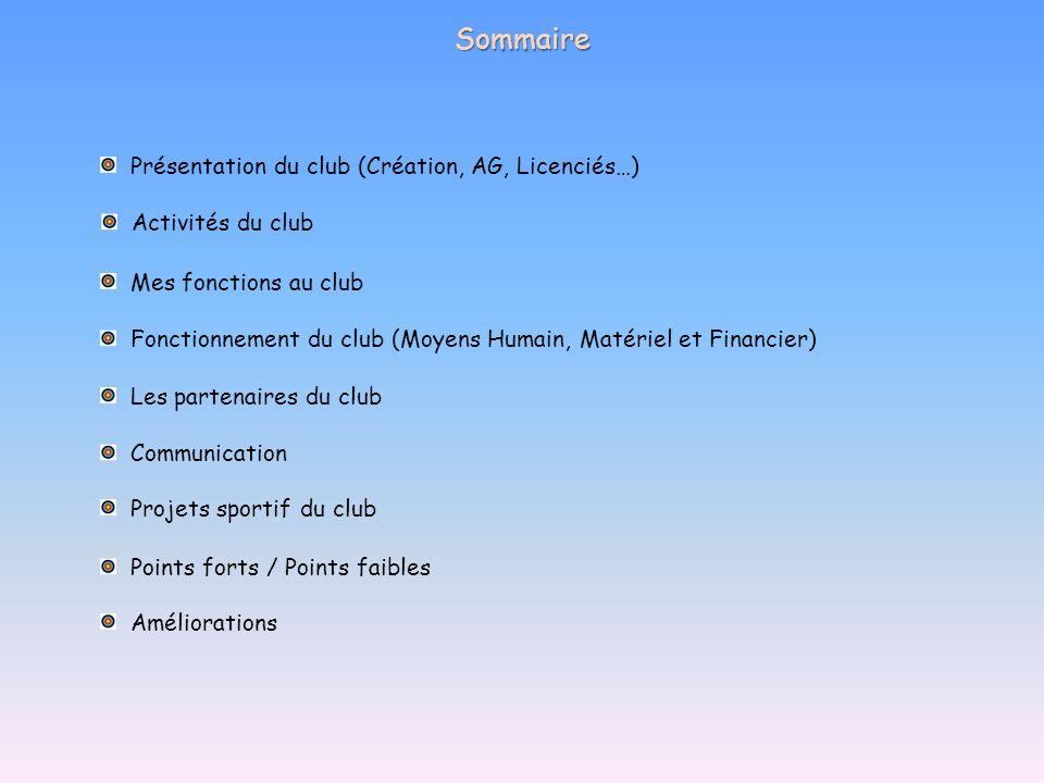 Sommaire Présentation du club (Création, AG, Licenciés…)