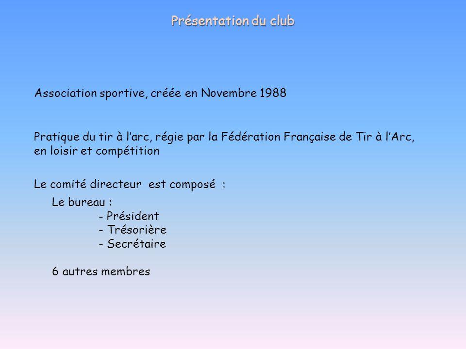 Présentation du club Association sportive, créée en Novembre 1988
