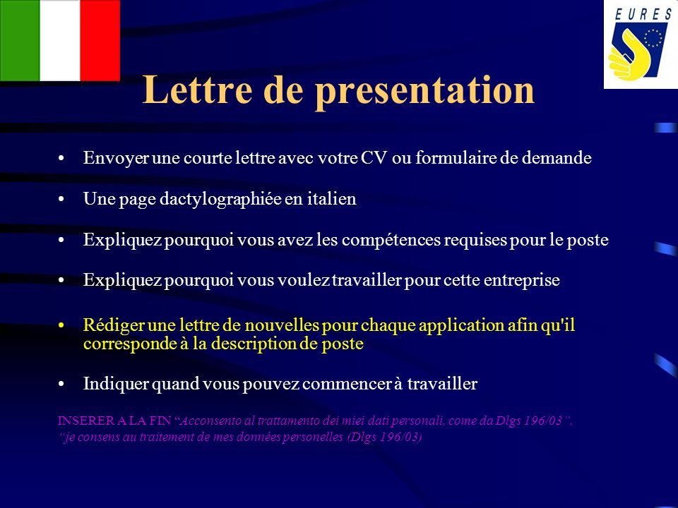 Lettre de presentation