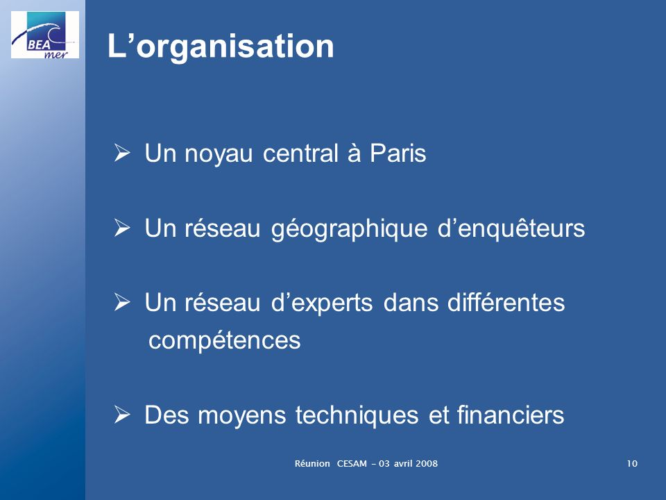 L'organisation Un noyau central à Paris