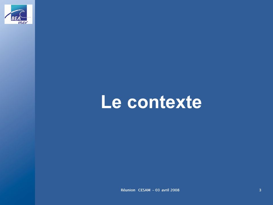Le contexte Réunion CESAM - 03 avril 2008