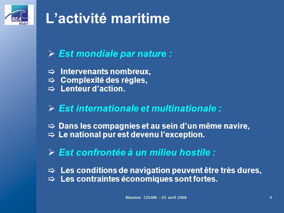 L'activité maritime Est mondiale par nature :